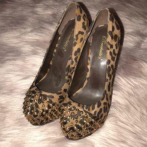 cheetah studded heels